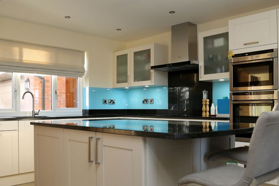 Bright Blue Kitchen Splashback
