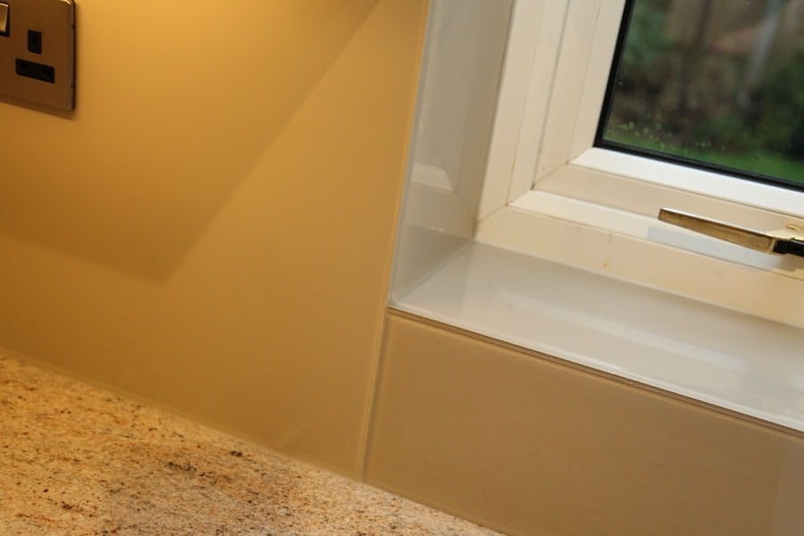 London Stone (Farrow & Ball) Splashback with Upstands & Window Sills Glass Splashbacks