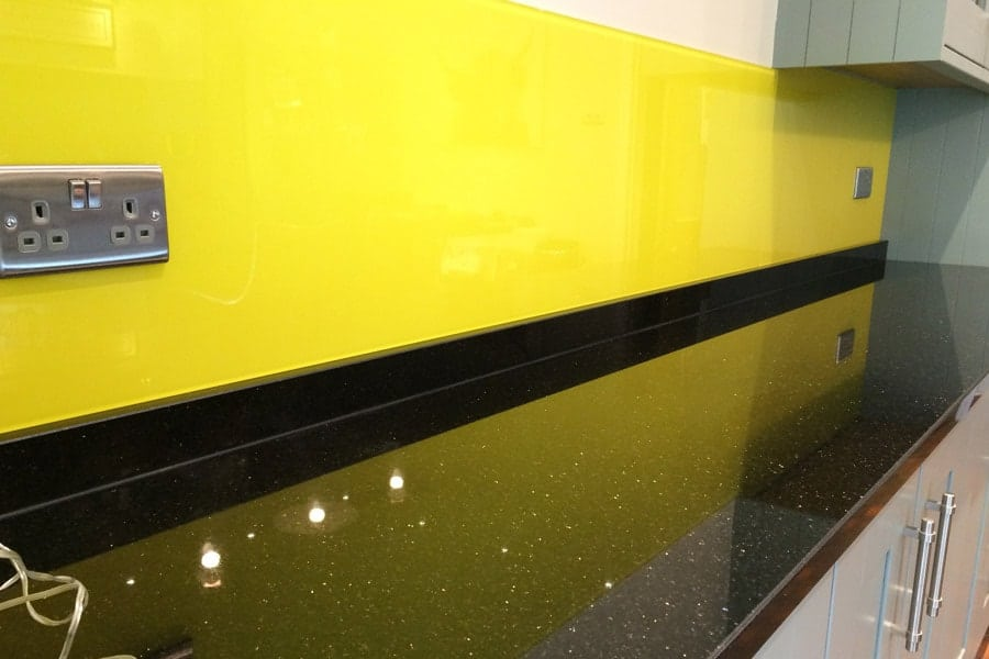 sunflower yellow kitchen splashback window sill