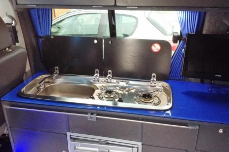 Lightning Blue Glass Worktop VW T5 Camper