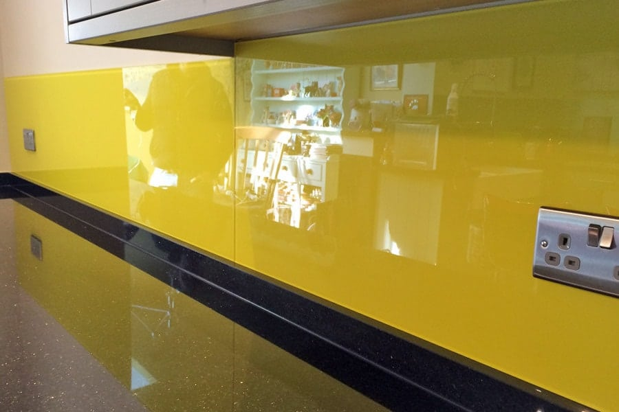 Kitchen Glass Splashback Finished In Sunflower Yellow