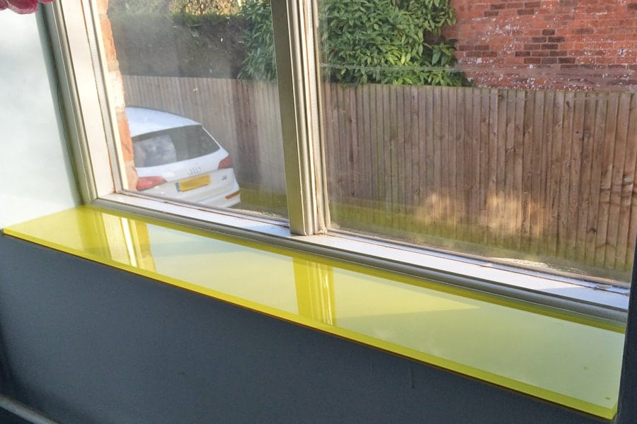Kitchen glass splashback finished in sunflower yellow for Window design 4 by 4