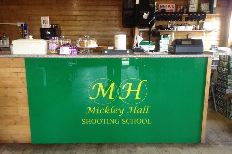 Mickley Hall Glass Sign With Logo