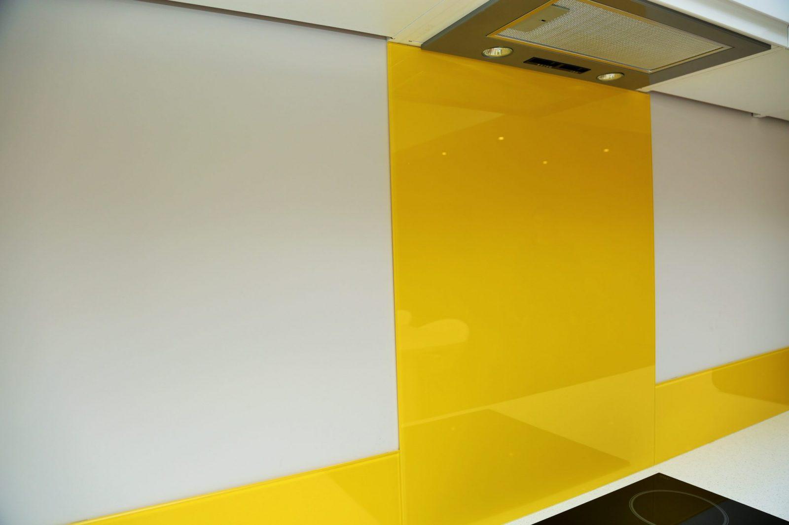 Standout Yellow Glass Splashback Glass Splashbacks Pro