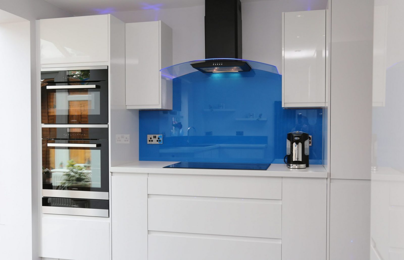 Blue Glass Splashback Kitchen