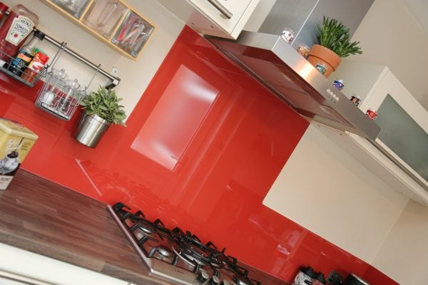 Glass Splashback Finished in Farrow & Ball Blazer Paint