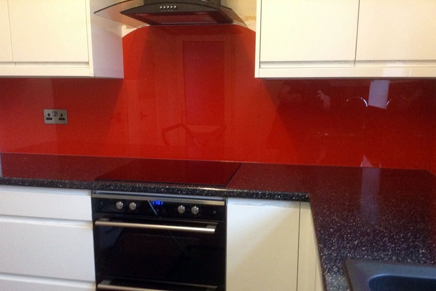 Candy Red Glass Splashback & Window Sill