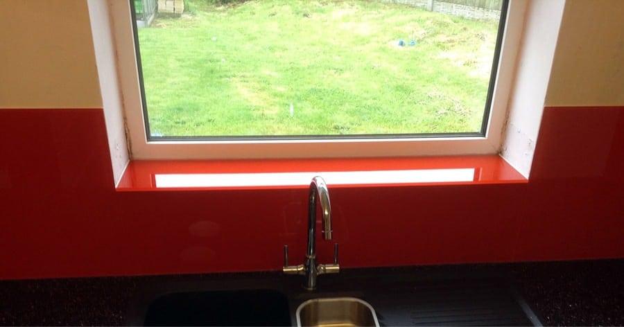 Candy Red Glass Splashback & Window Sill Glass Splashbacks