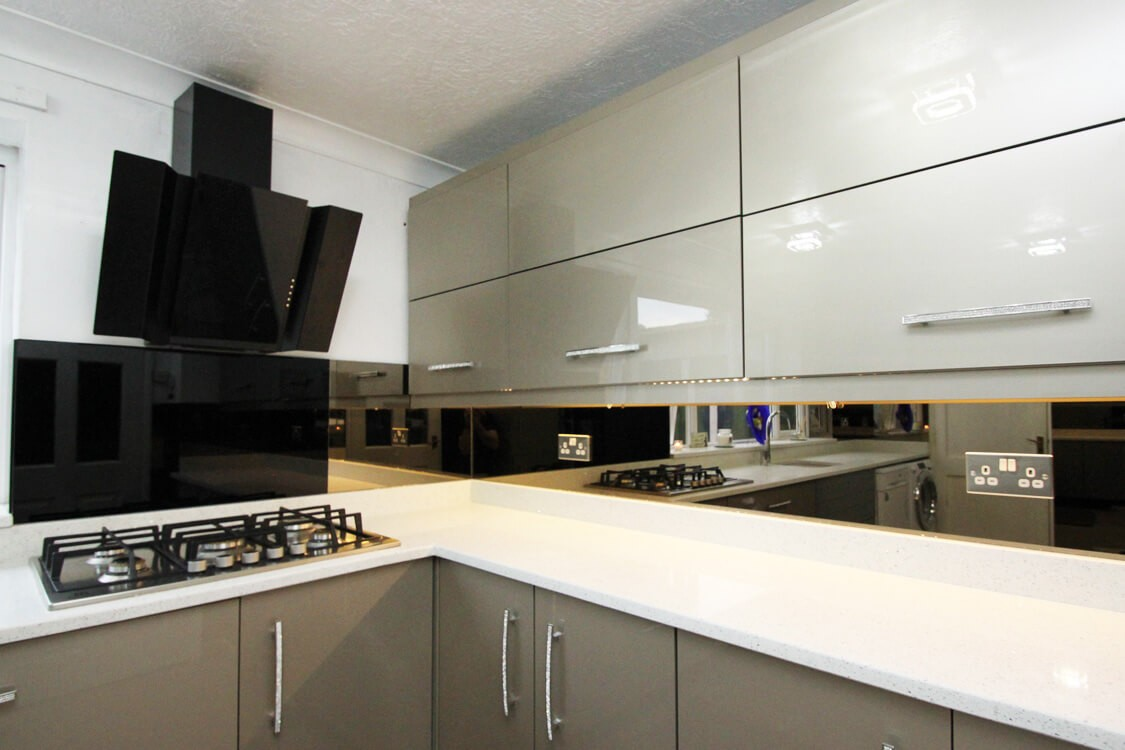 bronze mirror glass splashback