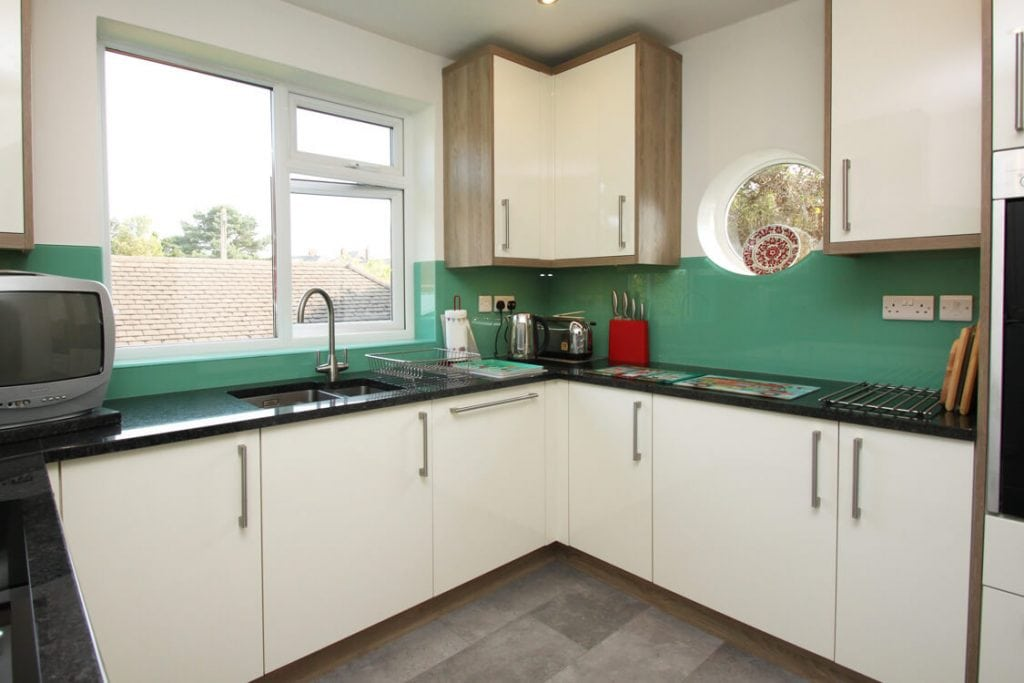 Farrow & Ball Arsenic No.214 Glass Splashback With Circular Window Glass Splashbacks