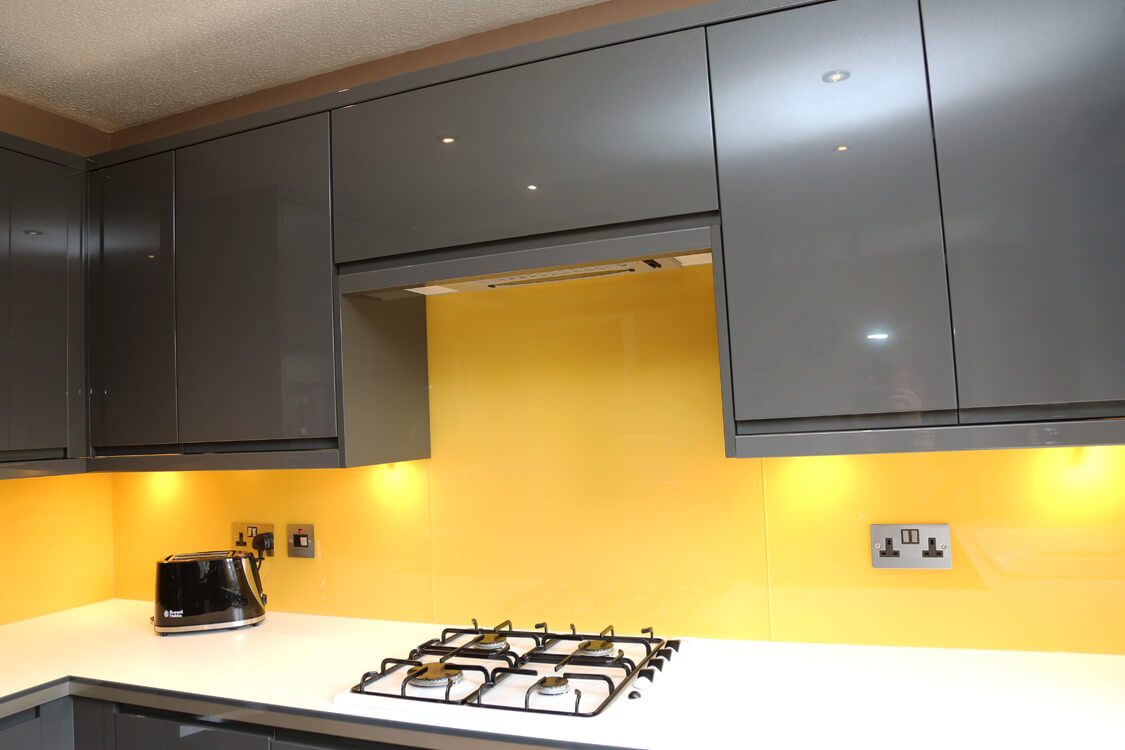 Glass Splashback Coloured In Farrow Amp Ball Babouche No 223