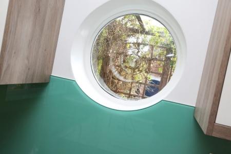 Farrow & Ball Arsenic No.214 Glass Splashback With Circular Window