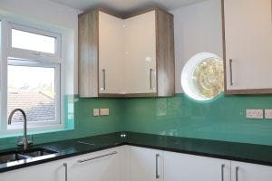 glass splashback in farrow and ball arsenic