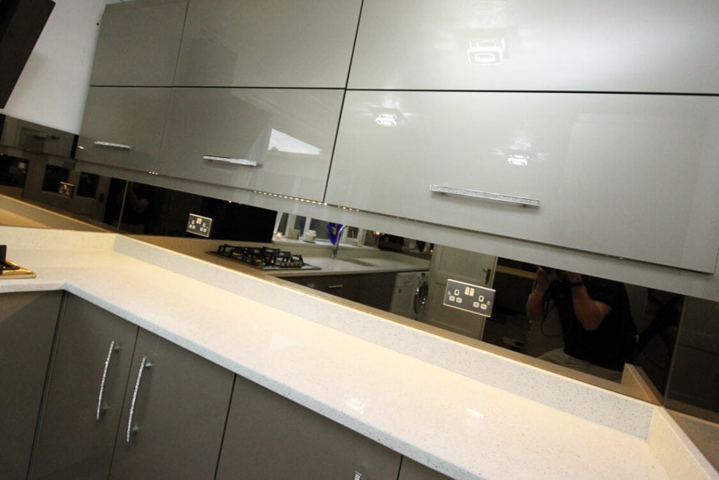 kitchen glass splashback in bronze mirror