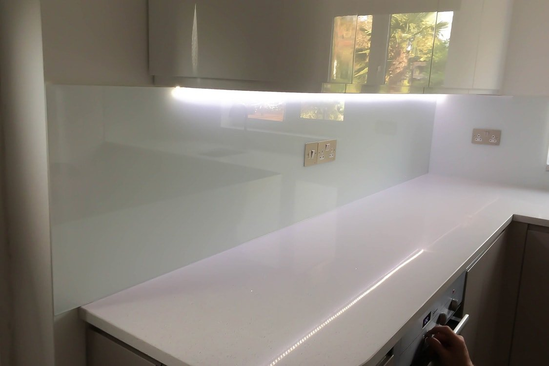 Glass splashbacks for bathroom sinks - Arctic White From Farrow And Ball Glass Splashback