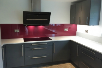 Pink red glass splashbacks glass splashbacks pro glass 4 - Farrow and ball bordeaux ...