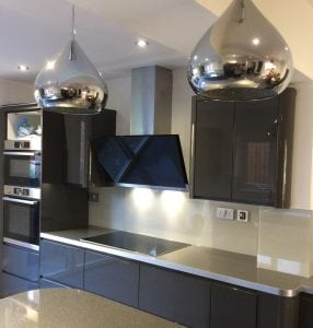 beautiful glass splashback fitted in a stunning kitchen