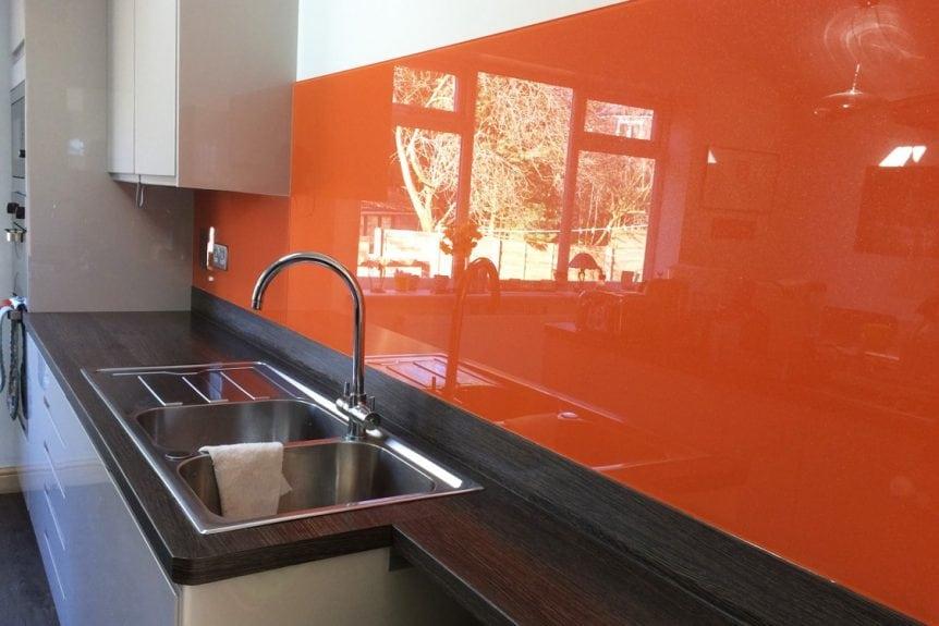 bright red orange glass splashback
