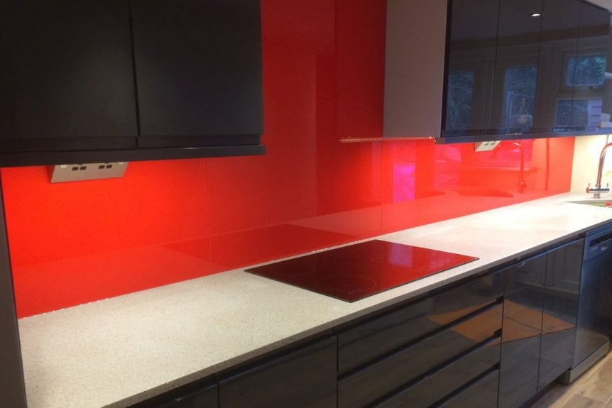 candy red glass splashback