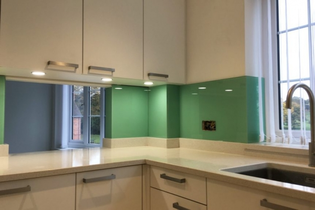 full application kitchen glass splashback in modern cheshire flat