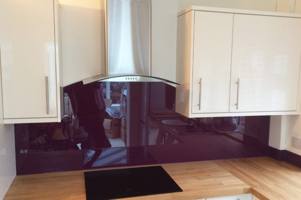 Purple Violet Glass Splashback With Curved Cooker Hood Glass Splashbacks