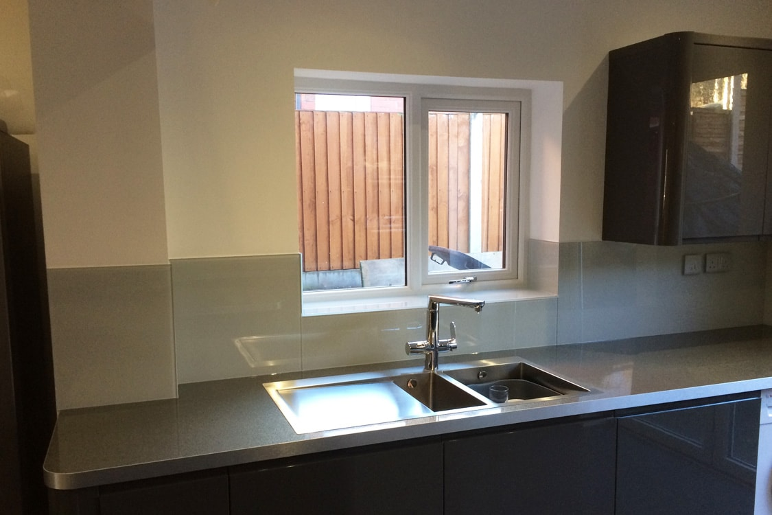 glass splashback and window sill