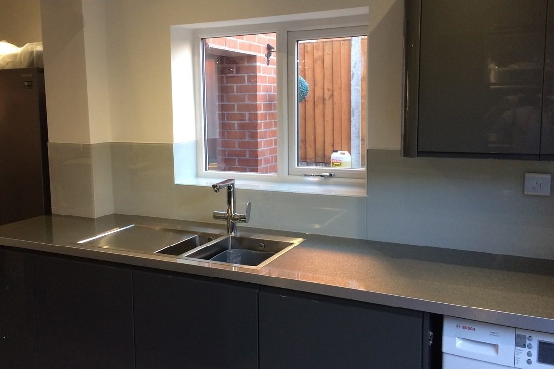 modern pavilion gray glass splashback