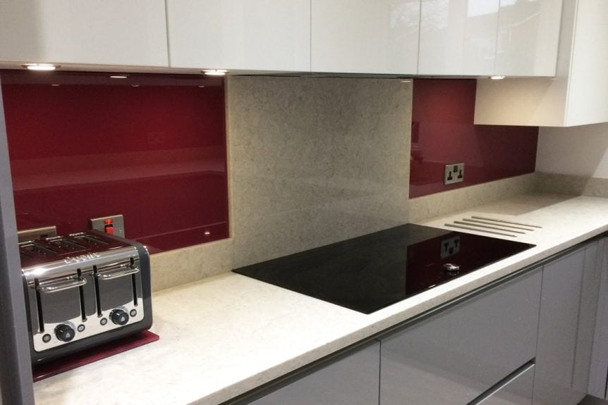 Farrow and ball glass splashback wither side of granite