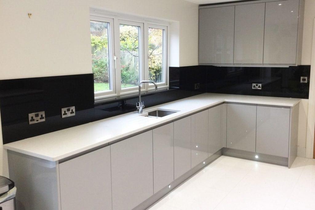 Jet Black Glass Splashback Amp Window Sill In Modern Kitchen