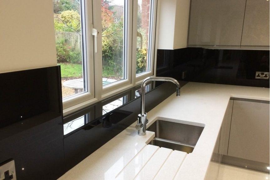 Stunning Jet Black Glass Splashback in modern kitchen