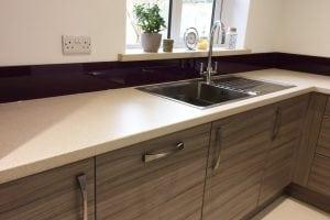 Aubergine Kitchen Glass Upstand Behind Sink