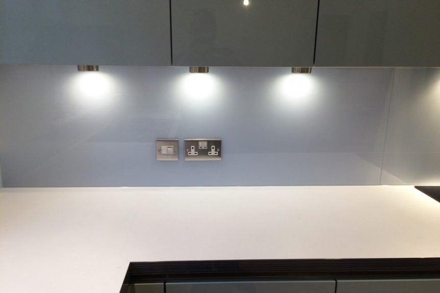 Cloud Glass Splashback Under Cupboard Spotlights