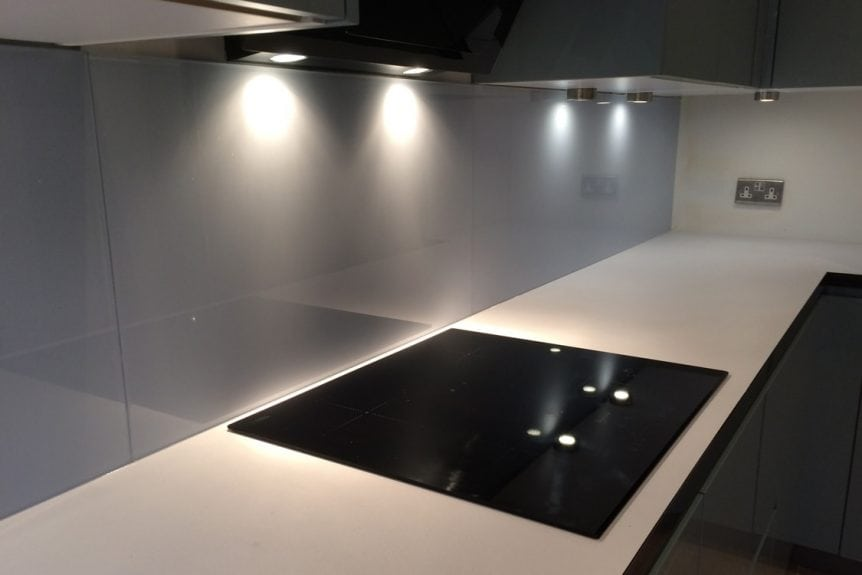 Glass Splashback Coloured in Cloud with Added Sparkle
