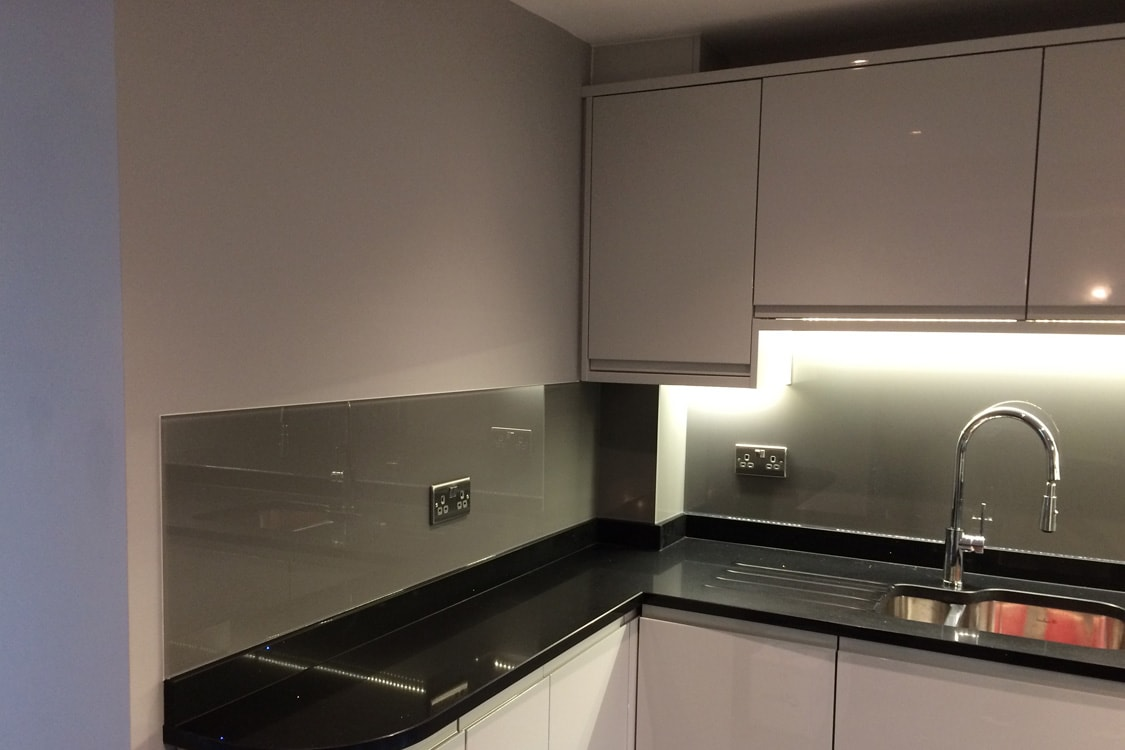 Glass Splashback Coloured in Moles Breath from Farrow and Ball