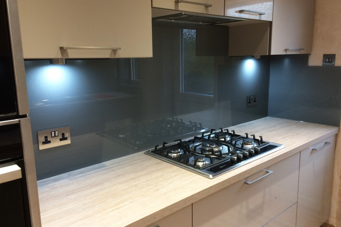 Glass Splashback Coloured in Plummet from Farrow and Ball