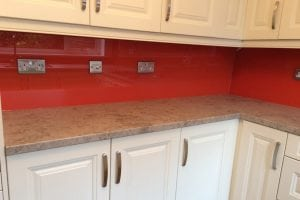 Glass Splashback Under Cupboards with Socket Cutouts