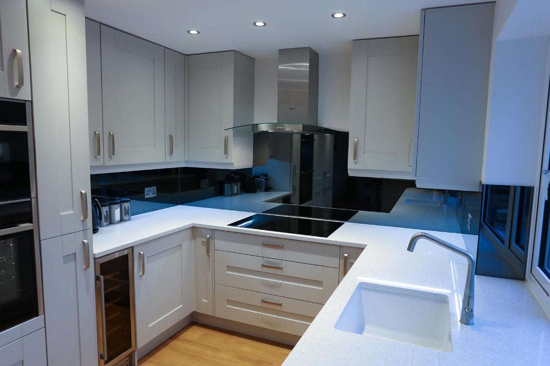 Grey Mirror Glass Splashback Full Kitchen Application