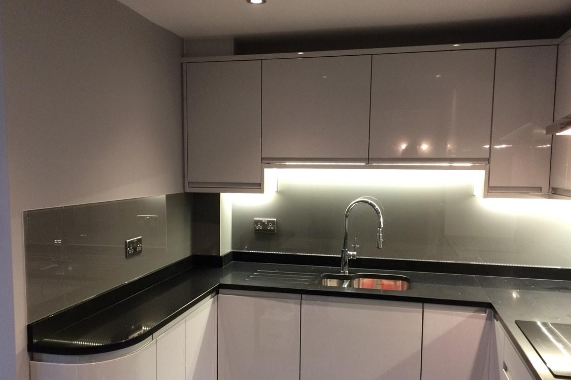 Kitchen Glass Splashback Coloured in Farrow and Ball Moles Breath No.276