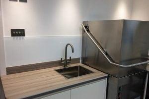 Commercial Kitchen Glass Splashback in Dulux Flat White