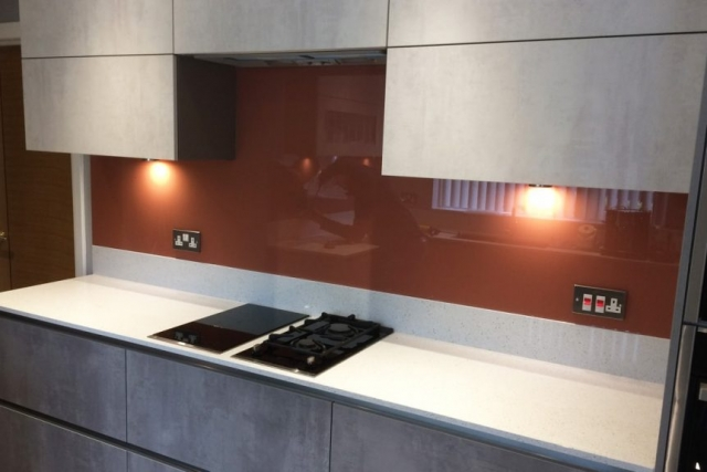 Farrow and Ball Red Earth Glass Splashback