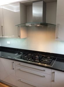 Glass Splashback Fitted in Nantwich Coloured in Farrow and Ball Pavilion Gray