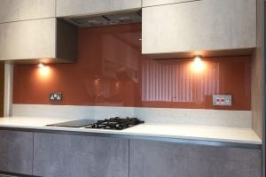 Kitchen Glass Splashback Coloured in Farrow and Ball Red Earth