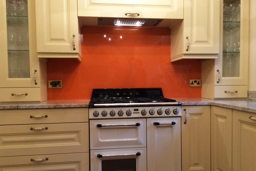 Kitchen Glass Splashback Coloured in Valspar Outre Orange