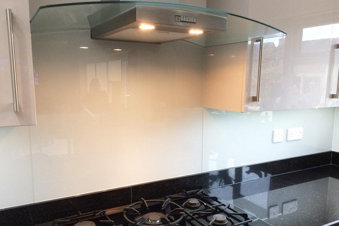 Kitchen Glass Splashback with Hood Cutout
