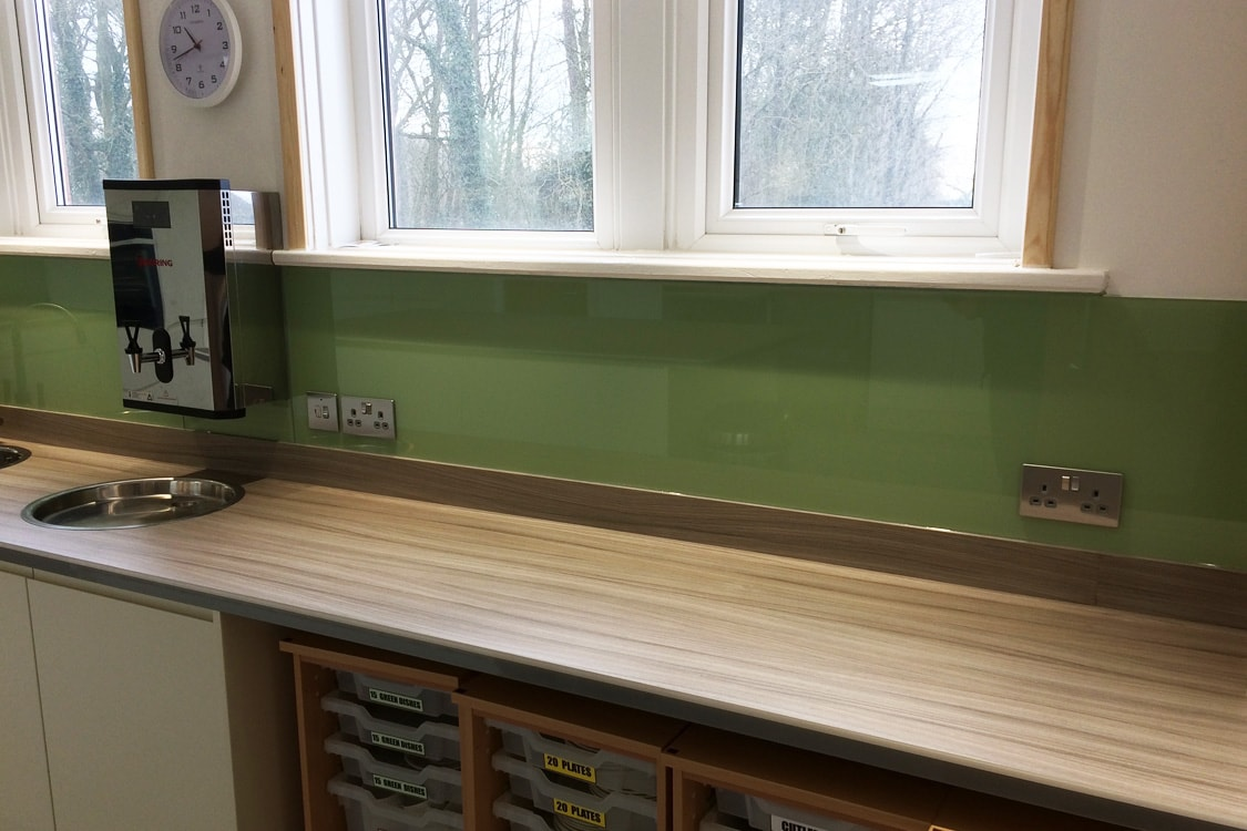 Commercial Glass Splashback Fitted in Cheshire