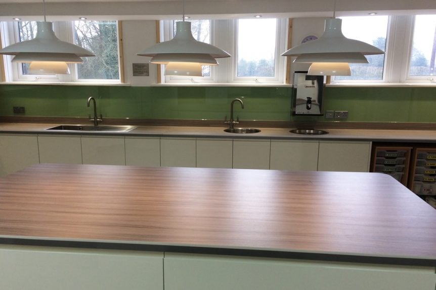 Commercial Kitchen Glass Splashback Coloured in Dulux Putting Green