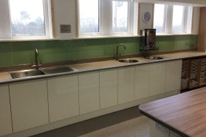 Commercial Kitchen in Knutsford Cheshire Glass Splashback