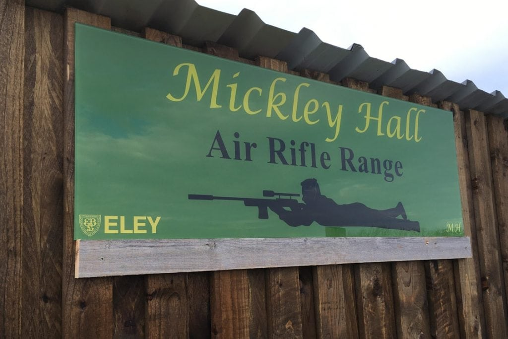 Mickley Hall Shooting School Air Rifle Range Sign Glass Splashbacks