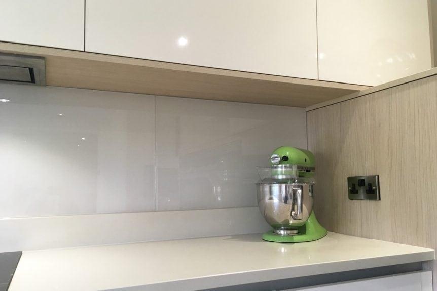 Glass Splashback Fitted behind Kitchen Aid Mixer