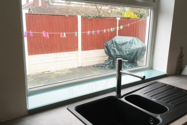 Glass Window Sill and Upstand Fitted in Widnes